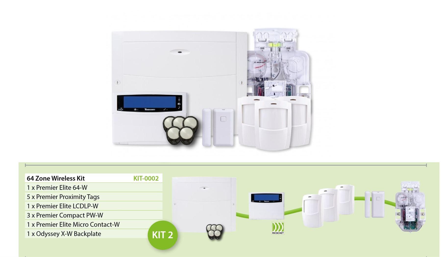 Texecom KIT-0002 Premier Elite Kit 64-W Ricochet 64 Zone Wireless Alarm Kit