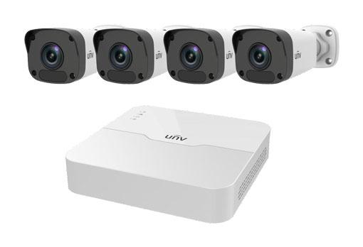 Uniview 8 Channel NVR 2MP HD NVR301 & 4 x 2MP 4mm Bullet IP Cameras CCTV KIT 2TB