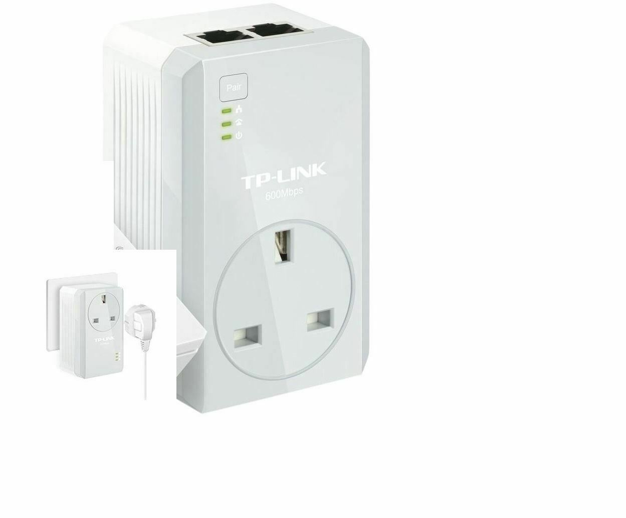 TP-LINK TL-PA4022P AV600 Two-Port Powerline Adapter AC Pass Through Single Plug
