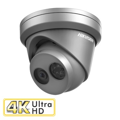 Hikvision Digital Technology 8MP, 2.8mm lens, IP67, H.265+, DC12V & PoE, WDR, 30m IR Turret Dome Camera Grey colour